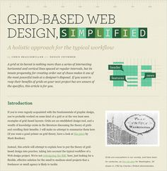 Design Informer: Grid-Based Web Design, Simplified has a simple clean two-column layout that clearly separates text from illustrations. Notice the capital letters in the author's name under the header, also visible in the quote design on the page. The content here dictates the layout.