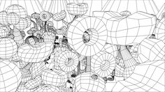 Wireframe cogs wheels
