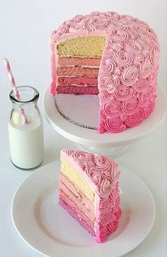 Ombre cake! Looks so yummy.