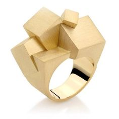 Antonio Bernardo - architectural jewellery, multi block structures ring with brushed gold finish