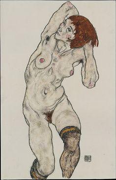 Nude in Black Stockings  Egon #Schiele (Austrian, Tulln 1890–1918 #Vienna)