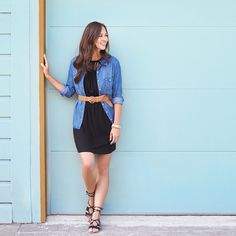 The classic button up chambray shirt is the perfect lightweight layer for your go-to little black dress. Add a belt at the waist for more shape and opt for a pair of on-trend gladiator lace-up sandals for summer style perfection.