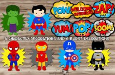 Superhero Party Decorations Superhero Pop Art by KawaiiKidsDesign Superhero Party Supplies, Superhero Party Decorations, Superhero Birthday Invitations, Superhero Pop Art, Superhero Theme Party, Superhero Characters, Fiesta Pop Art, Pop Art Party, Avenger