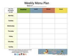 FREE! Weekly Menu Plan Grid Printable! Great for keeping track of what's on the menu each week. Keep it on the fridge for the whole family to see. Go to www.mealplanningmagic.com for more details on how to get yours!