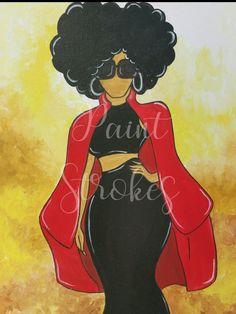 Cute Canvas Paintings, Easy Paintings, Canvas Artwork, Black Girl Art, Black Women Art, Art Girl, Black Art Painting, Rock Painting, Virtual Girl