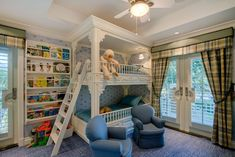 Traditional Kids Bedroom with Valance window treatment, Transom window, Land of Nod Terrace Bunk Bed, Crown molding, Carpet