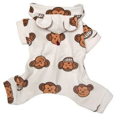 Super cute silly monkey face expressions cover these soft fleece red dog pajamas. A pair of adorable monkey ears attached on the hood, with snap button closure. Puppies In Pajamas, Cute Pajamas, Fleece Pajamas, Girl Dog Clothes, Puppy Diapers, Dog Boutique, Dog Design, Cute Designs, I Love Dogs