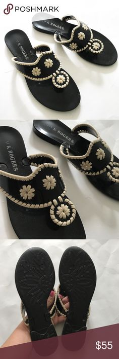 JACK ROGERS Black white flower Jelly Sandals Beautiful jelly sandals. Black and white flower on front straps. Gently worn. Size 6. Jack Rogers Shoes Sandals