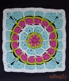 "Magic Spike Mandala Square - 12"" afghan block, free crochet pattern!"