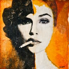 "Saatchi Online Artist: Anyes Galleani; Painting, 2013, Assemblage / Collage ""Judgement - Orange 5"""