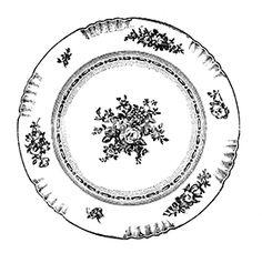 Vintage Plates, Vintage Art, Vintage Clip, Clipart Vintage, Antique Dishes, Vintage Dishes, Round Business Cards, Decoupage, Scrapbook Patterns