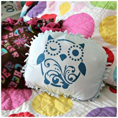 No-sew stenciled tshirt pillow tutorial - great tween craft from dollar store crafts!