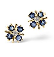 The Diamond Store.co.uk Kanchan Sapphire and 0.06CT Diamond Earrings 9K Yellow Gold Kanchan Sapphire amp