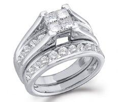 Diamond Engagement Ring & Wedding Band Bridal Set White Gold (1/2ct) #Diamond #wedding #Bridal #Ring #fashion #Jewelry #White jeweltie.com