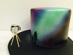 Northern lights cake, complete with little camera. From Creative Cakes in Anchorage.