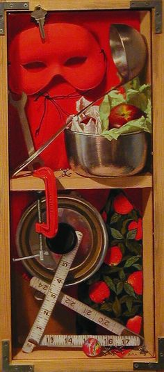 """""""Scarlet and Stainless Steel"""" by Lydia Martin, is a Trompe l'oeil oil painting on Belgian linen (24""""x12"""".) Part of the artist's series pairing a metal with a primary color."""