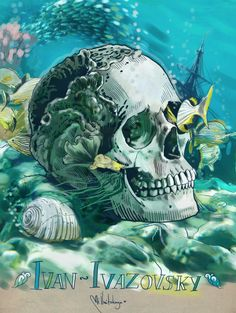 (by Mimi ilnitskaya) Ivan Ivazovsky -  was a Russian Romantic painter. He is considered one of the greatest marine artists in history #skull #ivanivazovsky #artist #skulloffamousartists #mimiilnitskaya #russianartist #sea #deep #fish