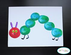 Hungry Caterpillar made out of small ballon dipped in paint