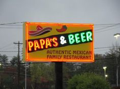 Papa's  Beer.  California Mexican Fusion.  Small chain restaurant but delicious.  Several have opened up in Asheville, NC but by far the best location is 1000 Brevard Rd.