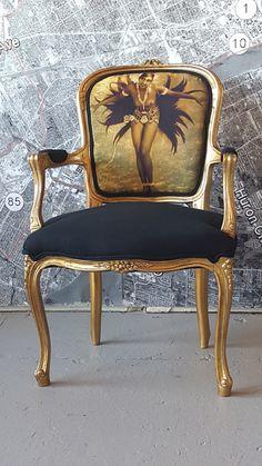 Louis chaise doré vintage antique accent Josephine Baker Français glamour noir et or Free shipping jusqu'au 01/01/2017
