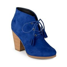 Journee Collection Women's Wen Faux Suede Lace-Up Ankle Booties - Blue... ($50) ❤ liked on Polyvore featuring shoes, boots, ankle booties, blue, faux suede lace-up booties, laced up booties, front lace up boots, lace front boots and blue booties