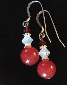 Red Jade and Crystal Earrings