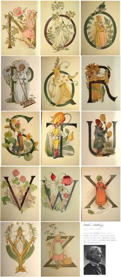 slowworks: Sweden-made Ottilia Adelborg postcards - A-Q Illuminated Letters, Illuminated Manuscript, Lettering Design, Hand Lettering, Hand Work Embroidery, Medieval Manuscript, Love Illustration, Calligraphy Letters, Letters And Numbers