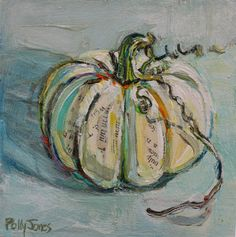 Small Wonders Daily Paintings by Polly Jones: Little White Pumpkin original mixed media painting by Polly Jones