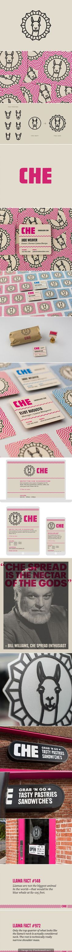 Cafe Che Branding / llama / logo / branding / identity / illustration / animal drawing / geometric / simple lines and shapes / pink and black / business card / stationary / signage / restaurant