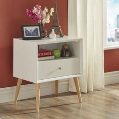 Marin Danish Modern 1-drawer Storage Accent Side Table by MID-CENTURY LIVING - Free Shipping Today - Overstock.com - 19400084 - Mobile