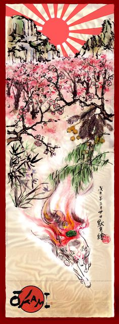 """""""Okami"""" Japanese painting by Moyan Wish I knew what these said, but I like the fox a lot!>>>> THIS IS A VIDEO GAME POSTER. THAT IS THE SUN GODDESS AMATERASU IN THE FORM OF A WHITE DOG. HOW IN THE WORLD DOES THAT LOOK LIKE A FOX??"""