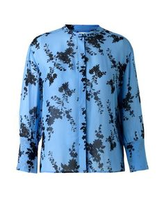 Lightweight shirt crafted from fine chiffon material featuring long sleeves, high round neckline, all over floral printed pattern and down the front hidden button placket.