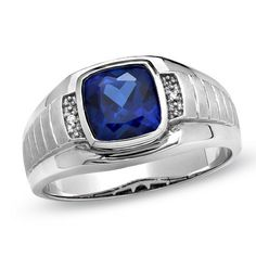Fancy Ring Men Guy Gent Synthetic Sep Birthstone Blue CZ White Rhodium Plated Metal