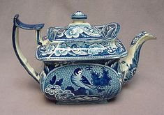 Blue Staffordshire Tea Pot, England, 19th century