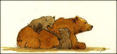 Momy bear and two cubs original watercolor painting by Juan Bosco
