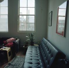 dark room, leather sofas