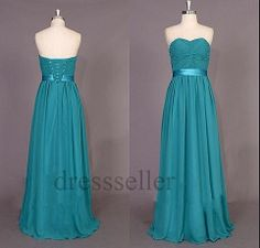 Custom Teal Ruffle Long Prom Dresses Fashion Evening by Tinadress, $95.00