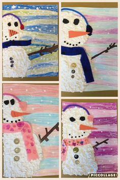 Snowmen Art Lesson Supplies: crayon, white acrylic, sculptamold, art board, felt, foam and buttons.