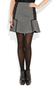 DKNY | Flared Twill and Satin Mini Skirt