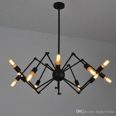 Spider Chandelier Vintage Wrought Iron Pendant Lamp Loft American Style Lighting Fixture 8/12 Lights Iron Pendant Light Cylinder Pendant Light From Dpgkevinfan, $215.45| Dhgate.Com