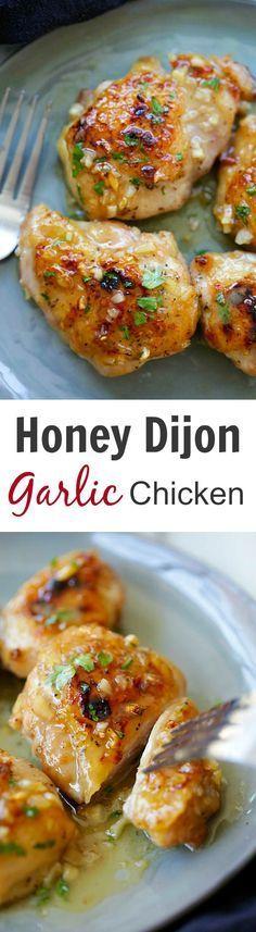 Honey Dijon Garlic Chicken – super delicious skillet chicken with amazing honey Dijon garlic sauce. So easy as dinner is done in 15 mins! | rasamalaysia.com #dinner