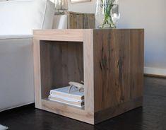 The Salvaged Oak Collection Square Side Table by RAKAMod on Etsy modern / minimalist / geometric / living room furniture / rustic modern furniture / grey furniture / chunky furniture / oak slabs / handcrafted / custom