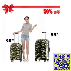 The 2015 largest discount! 12.16—12.31 Christmas sales! All luggage suitcases in E-bay American site with 50% off! Don't miss it!! http://stores.ebay.com/shxq2015 http://www.ebay.com/itm/Luggage-Suitcase-Camouflage-Spinner-Wheels-Hardside-Luggage-20-28-Inches-/252181680196?