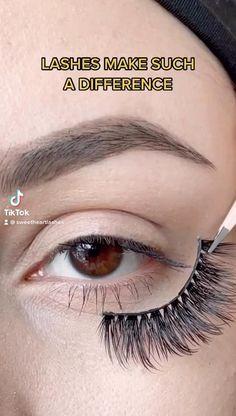 Eyelashes How To Apply, Applying False Lashes, Natural Eyelashes, False Lashes Natural, Wispy Lashes, Fake Lashes, False Eyelashes, Eyelashes Tutorial, Makeup Tutorials
