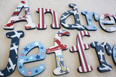 Hand Painted Personalized Wall Letter Hangings, Nursery Decor, Featuring Vintage Planes Design on Etsy, $25.00