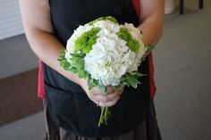 Bridesmaid bouquet in green and white.