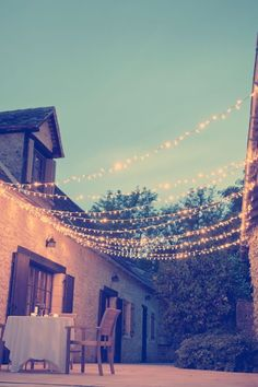 Most simple way to jazz up an outdoor area. Everyone loves fairy lights