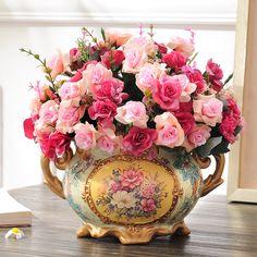 >> Click to Buy << flower decoration flower vase set the living room table decoration finished floral flower silk flower rose #Affiliate