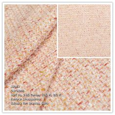 This heavyweight fabric is a combination of white, pink and yellow fibers, strewn with tiny sequins. It features a Chanel style design and is very soft to the touch Chanel Style, Chanel Fashion, Tweed, Fabrics, Sequins, Fancy, Touch, Yellow, Pink
