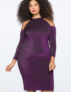 View our Cold Shoulder Metallic Knit Dress and shop our selection of designer women's plus size Dresses, clothing and fashionable accessories. Plus Size Cocktail Dresses, Evening Dresses Plus Size, Plus Size Dresses, Plus Size Outfits, Combo Dress, Dresses To Wear To A Wedding, Plus Size Fashion For Women, Curvy Girl Fashion, Curvy Outfits